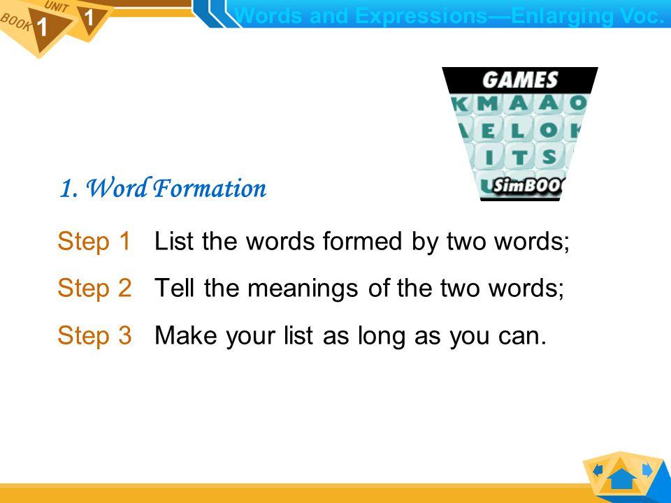 1 1 IV. Enlarging Vocabulary 1. Word Formation 2.