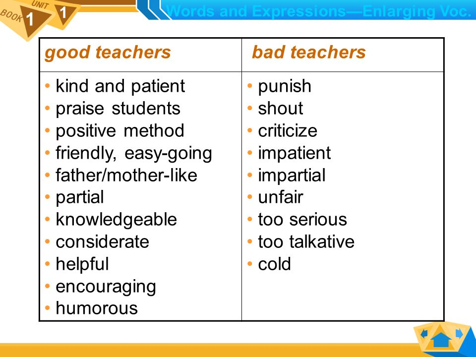 1 1 Activity 2: Make a list of expressions to describe good teachers and bad teachers.