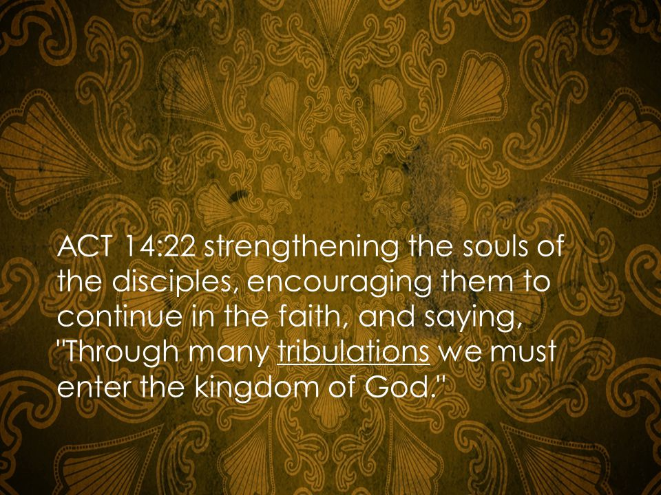 ACT 14:22 strengthening the souls of the disciples, encouraging them to continue in the faith, and saying, Through many tribulations we must enter the kingdom of God.