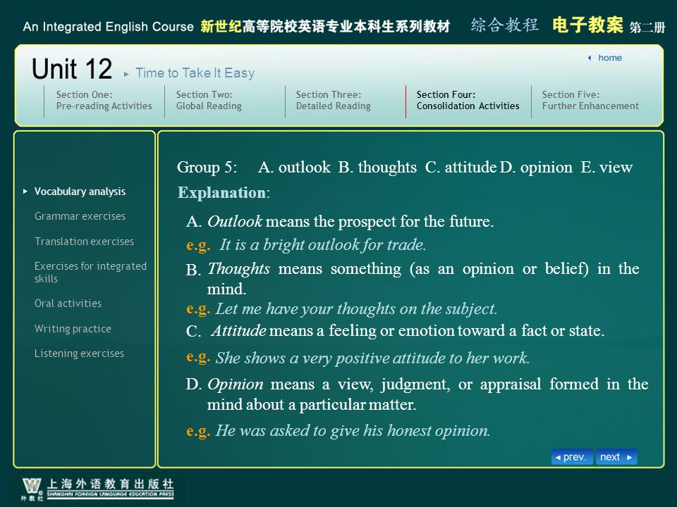 Vocabulary analysis Writing practice Section Four: Consolidation Activities SectionFour_V_I_5.1 Grammar exercises Translation exercises Exercises for integrated skills Oral activities Listening exercises Section Five: Further Enhancement Section One: Pre-reading Activities Section Two: Global Reading Section Three: Detailed Reading Time to Take It Easy He was asked to give his honest opinion.