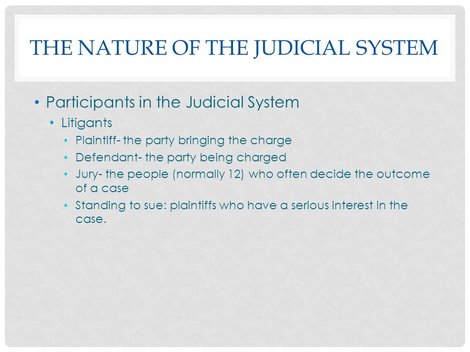 THE NATURE OF THE JUDICIAL SYSTEM Participants in the Judicial System Litigants Plaintiff- the party bringing the charge Defendant- the party being ch