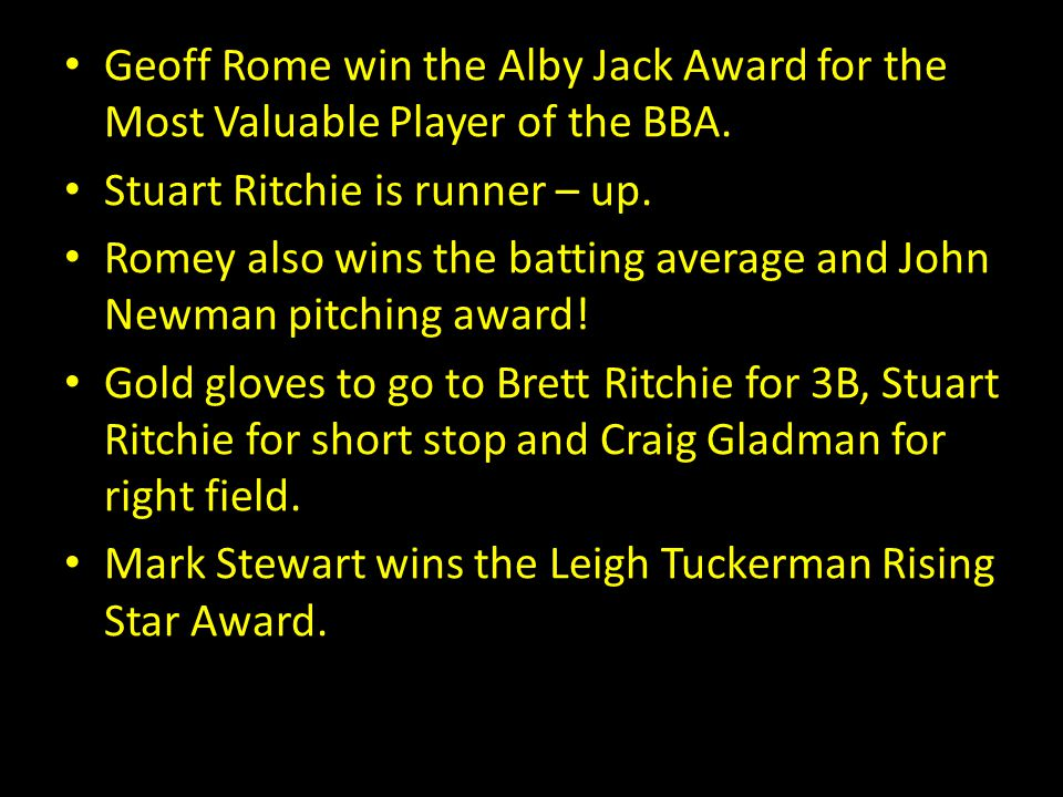 Geoff Rome win the Alby Jack Award for the Most Valuable Player of the BBA. Stuart Ritchie is runner – up. Romey also wins the batting average and Joh