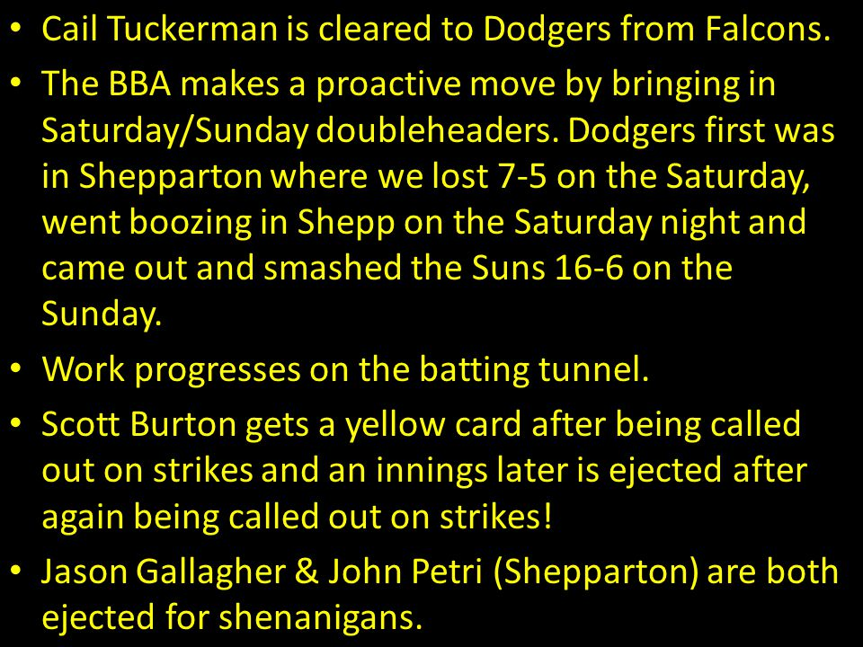 Cail Tuckerman is cleared to Dodgers from Falcons. The BBA makes a proactive move by bringing in Saturday/Sunday doubleheaders. Dodgers first was in S