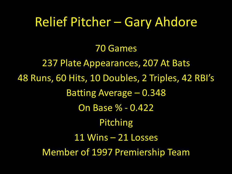 Relief Pitcher – Gary Ahdore 70 Games 237 Plate Appearances, 207 At Bats 48 Runs, 60 Hits, 10 Doubles, 2 Triples, 42 RBI's Batting Average – 0.348 On