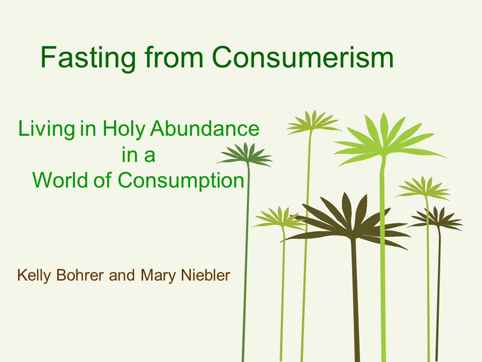Fasting from Consumerism Living in Holy Abundance in a World of Consumption Kelly Bohrer and Mary Niebler