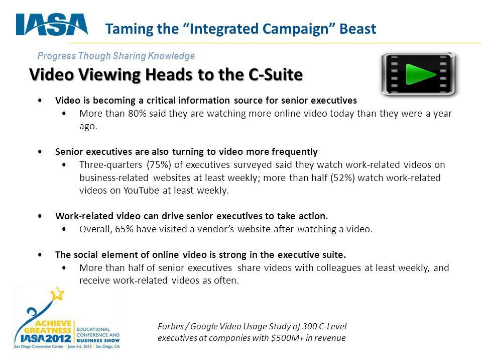 Progress Though Sharing Knowledge Video Viewing Heads to the C-Suite Video is becoming a critical information source for senior executives More than 8