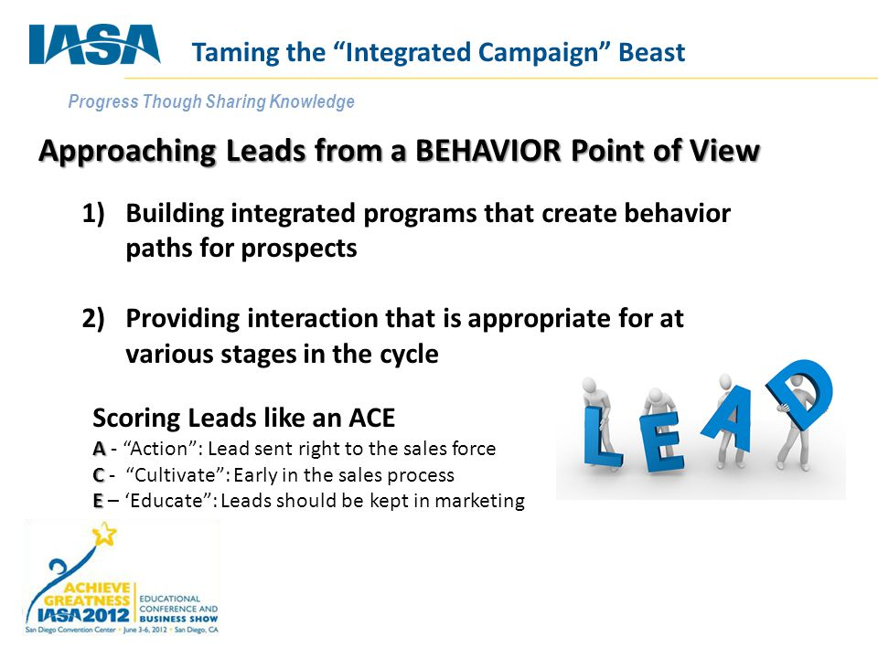 Progress Though Sharing Knowledge Approaching Leads from a BEHAVIOR Point of View 1)Building integrated programs that create behavior paths for prospects 2)Providing interaction that is appropriate for at various stages in the cycle Scoring Leads like an ACE A A - Action : Lead sent right to the sales force C C - Cultivate : Early in the sales process E E – 'Educate : Leads should be kept in marketing Taming the Integrated Campaign Beast