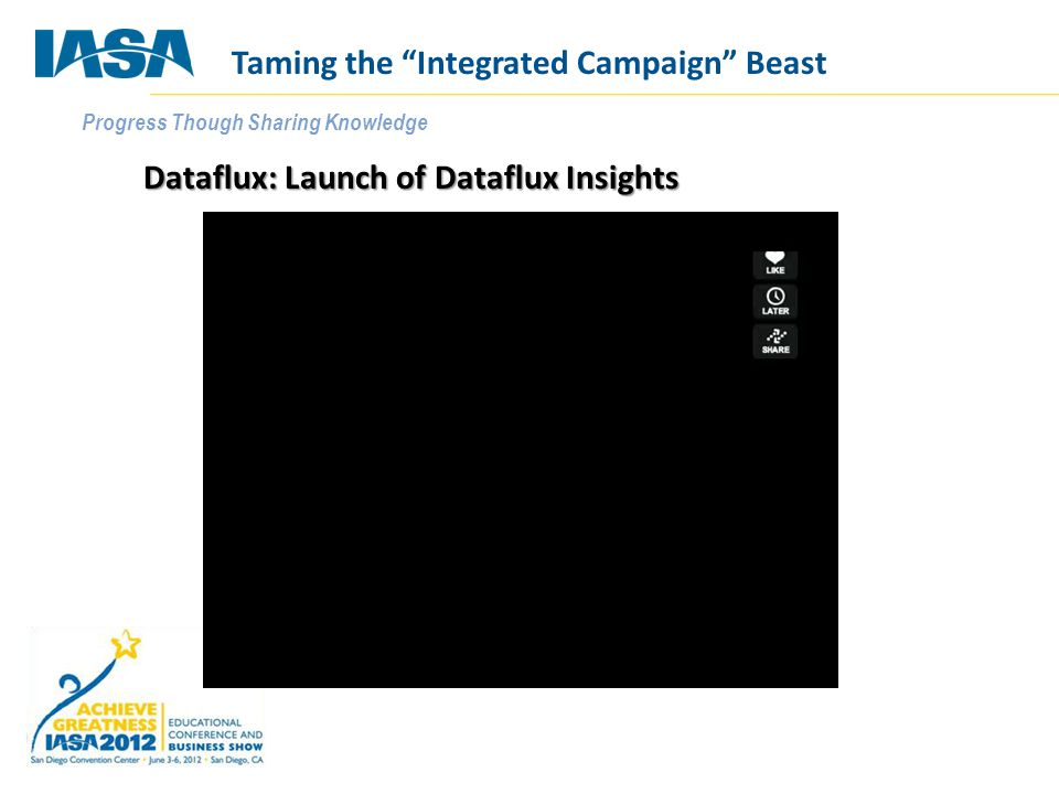 """Progress Though Sharing Knowledge Dataflux: Launch of Dataflux Insights Taming the """"Integrated Campaign"""" Beast"""