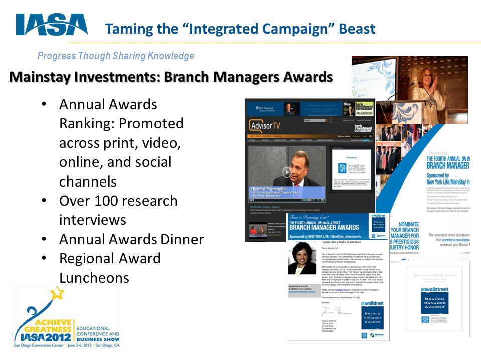 Progress Though Sharing Knowledge Mainstay Investments: Branch Managers Awards Annual Awards Ranking: Promoted across print, video, online, and social