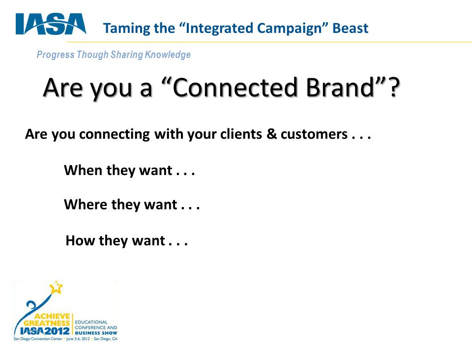 Progress Though Sharing Knowledge What does NOT count as an integrated campaign Adding social media chiclets to everything Using the same stock art image across online, print and your show booth Adding a 75 character URL to your print ad www.YourCompany.com/pubname/superduperoffer/ Marketing a white paper through email Posting a video to your website Taming the Integrated Campaign Beast