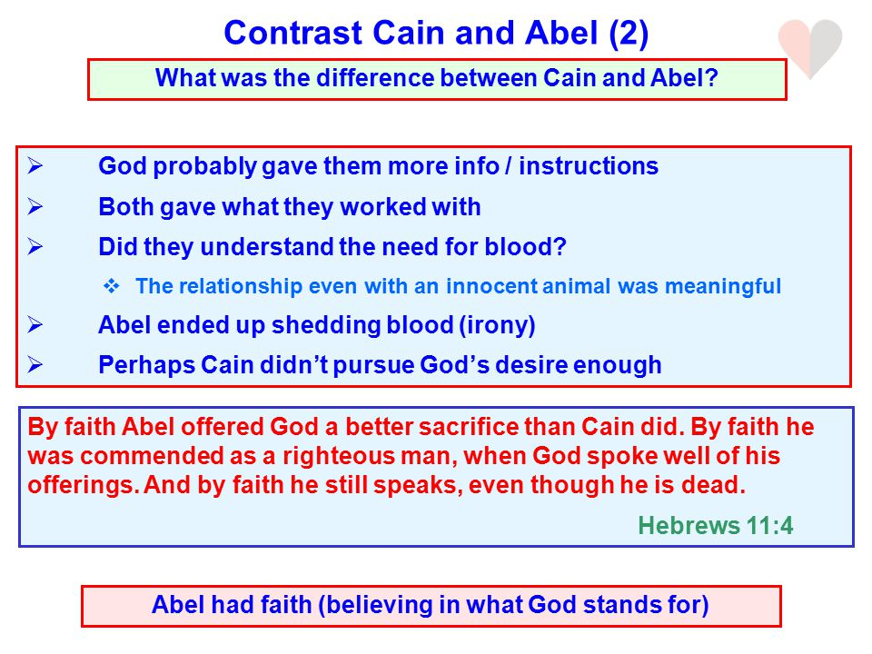  God probably gave them more info / instructions  Both gave what they worked with  Did they understand the need for blood.