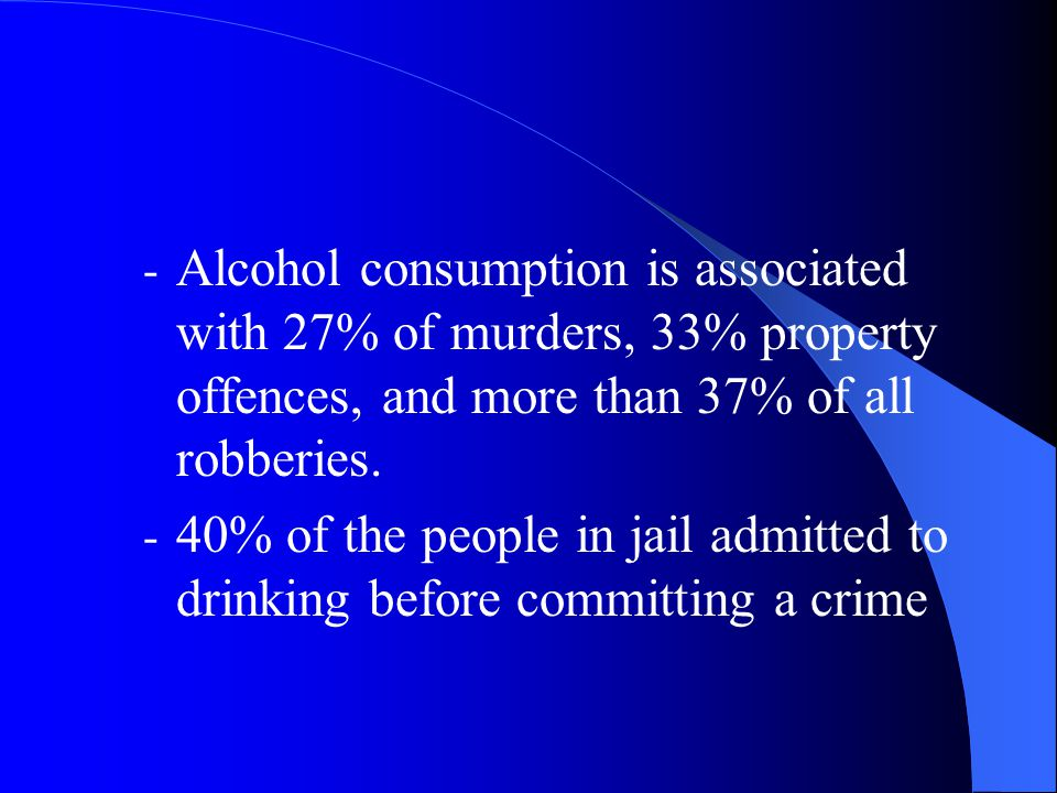 - Alcohol consumption is associated with 27% of murders, 33% property offences, and more than 37% of all robberies.