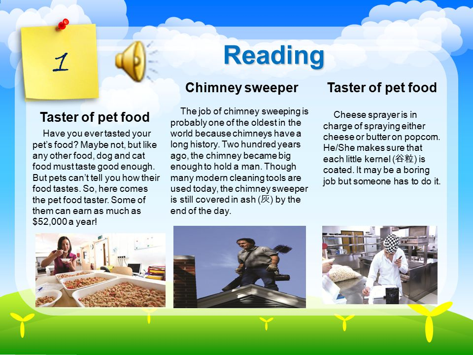 1 Reading Have you ever tasted your pet's food.