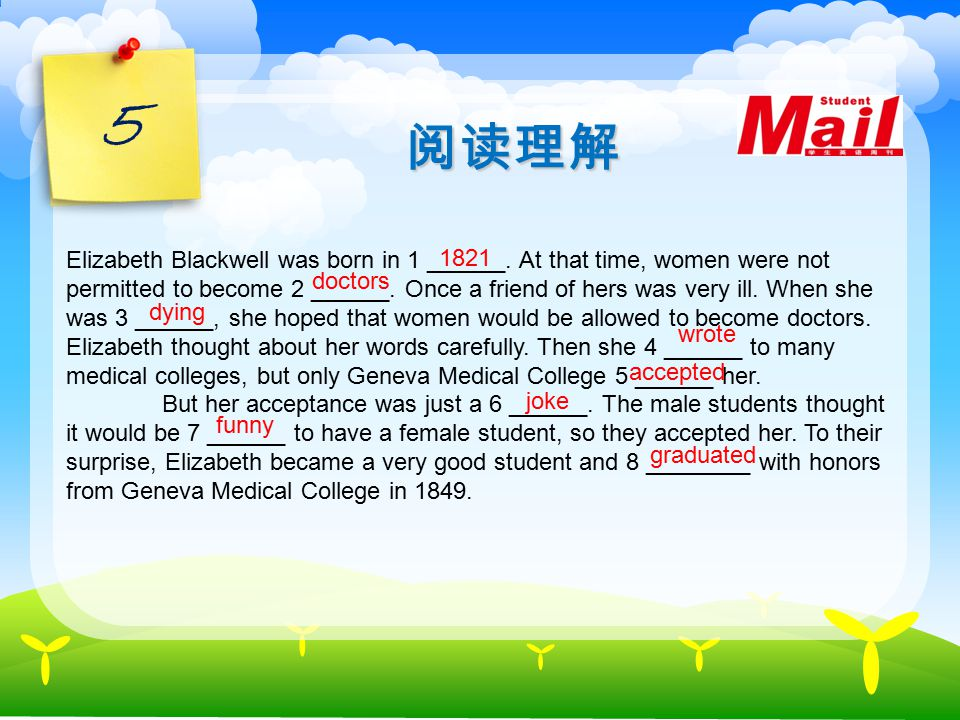 4 Reading Elizabeth Blackwell was born in 1821. It was a time when women were not equal to men in many ways. Once Elizabeth visited a friend who was v