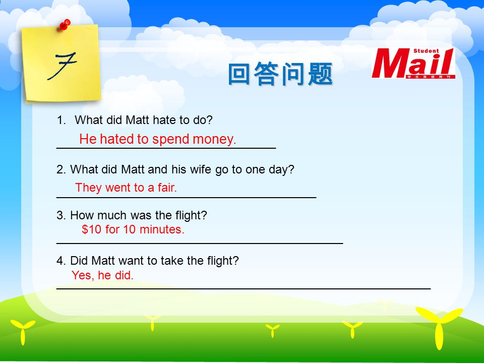 6 Reading A free ride Matt and his wife lived in the country. Matt was very stingy ( 吝啬的 ) and hated spending money. One day a fair ( 集市 ) came to the