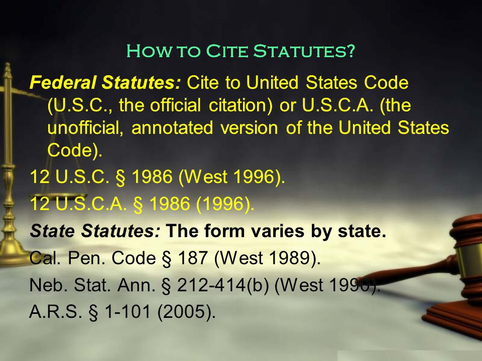 How to Cite Statutes.