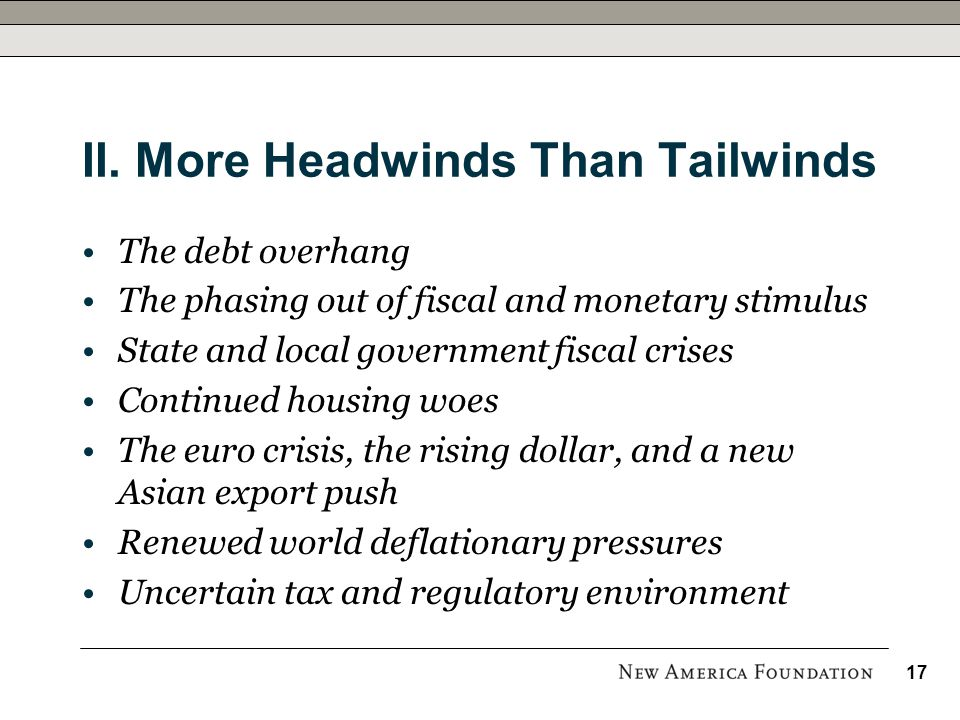 II. More Headwinds Than Tailwinds The debt overhang The phasing out of fiscal and monetary stimulus State and local government fiscal crises Continued