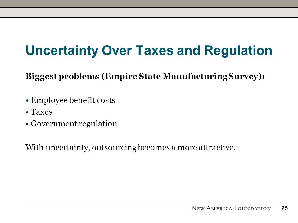Uncertainty Over Taxes and Regulation Biggest problems (Empire State Manufacturing Survey): Employee benefit costs Taxes Government regulation With uncertainty, outsourcing becomes a more attractive.