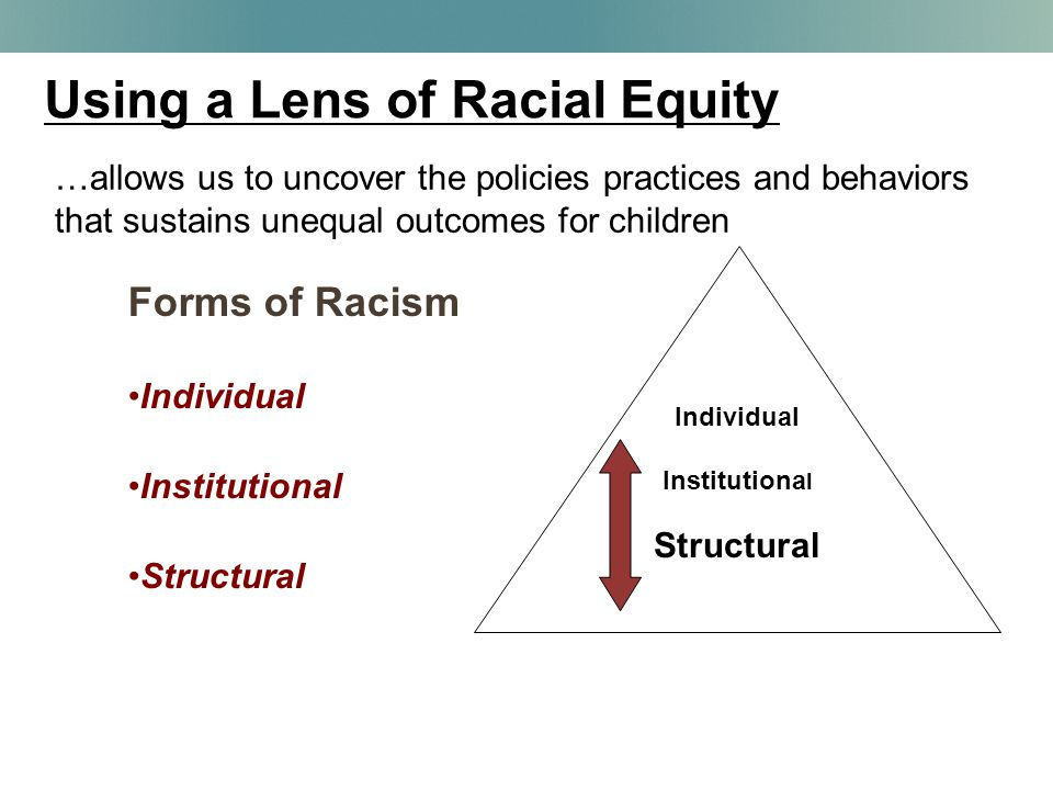 Using a Lens of Racial Equity Individual Institutiona l Structural …allows us to uncover the policies practices and behaviors that sustains unequal outcomes for children Forms of Racism Individual Institutional Structural