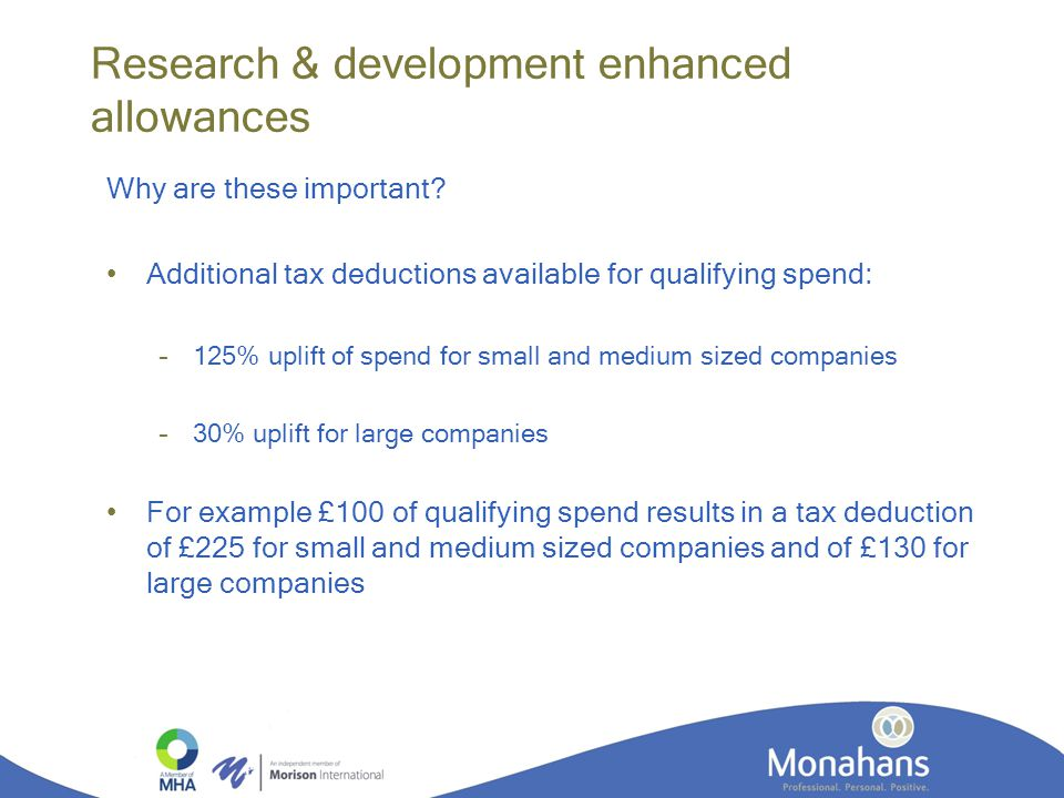 Research & development enhanced allowances Why are these important.