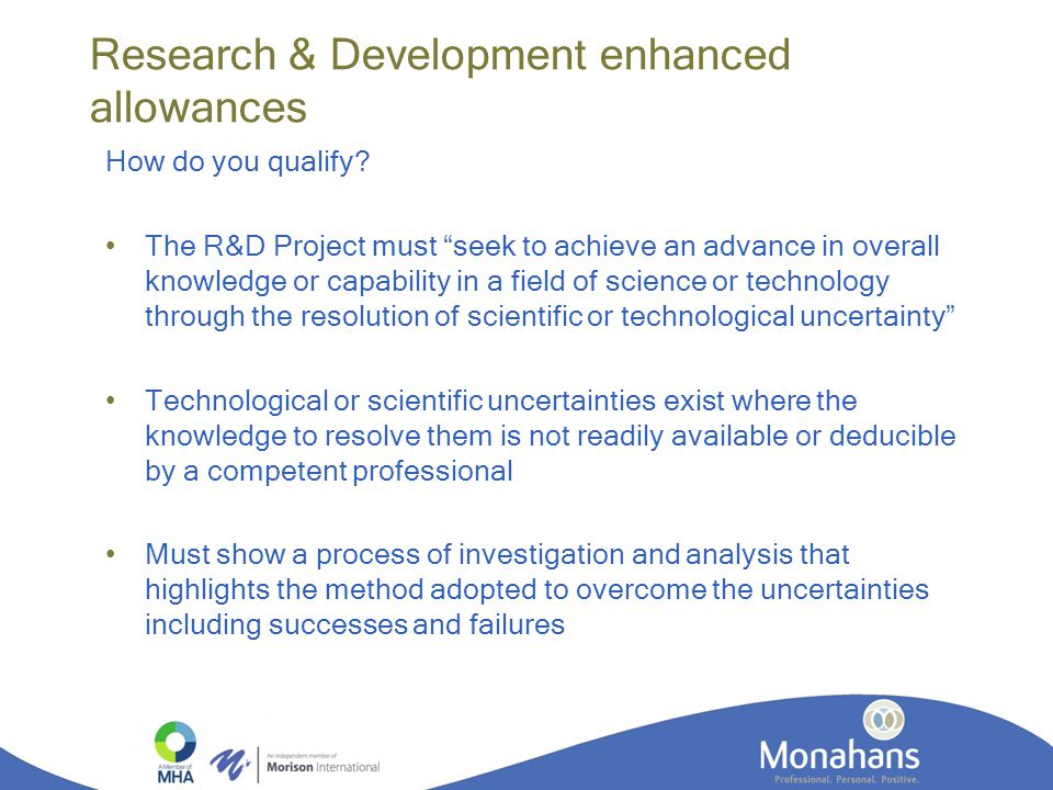Research & Development enhanced allowances How do you qualify.