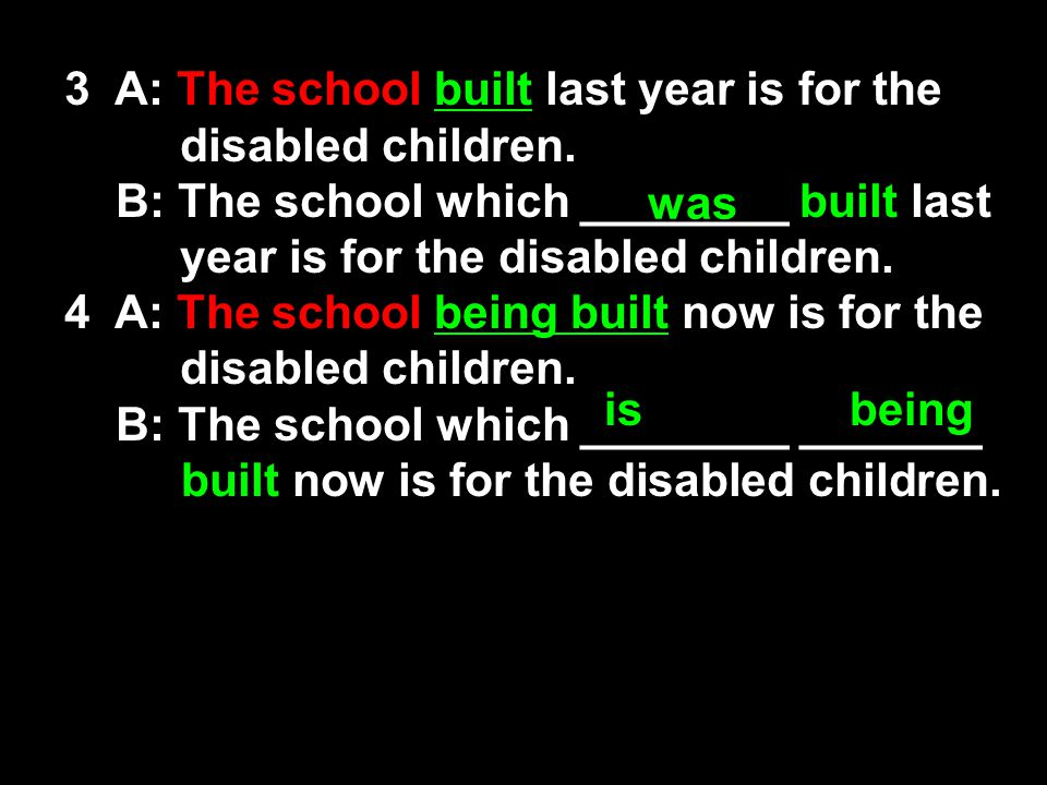 3 A: The school built last year is for the disabled children.