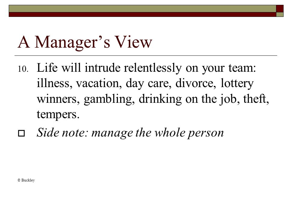 A Manager's View 10.