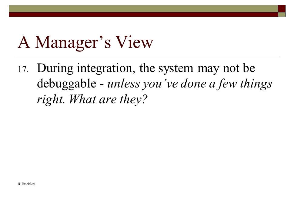 A Manager's View 17.