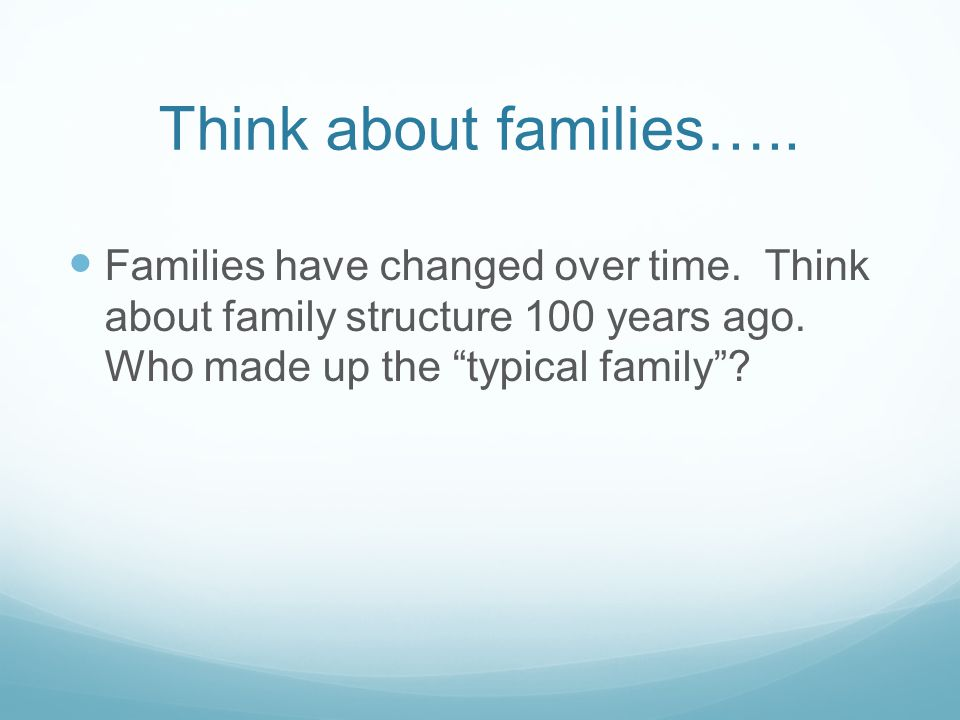 Think about families….. Families have changed over time.