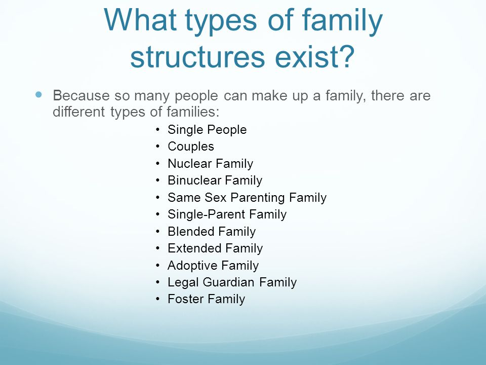 What types of family structures exist.
