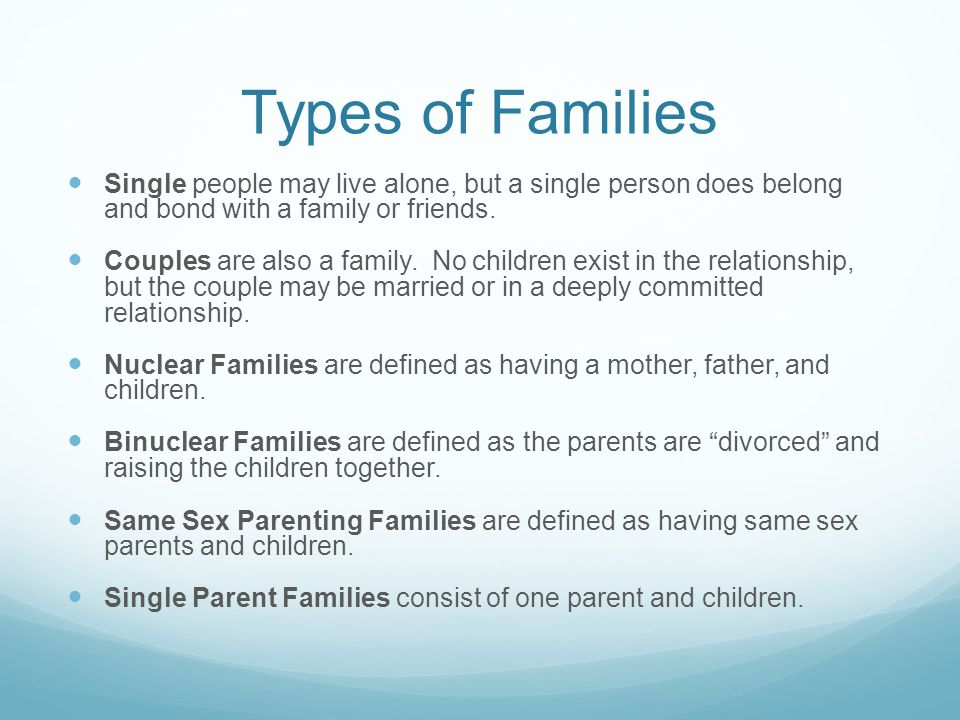 Types of Families Single people may live alone, but a single person does belong and bond with a family or friends.