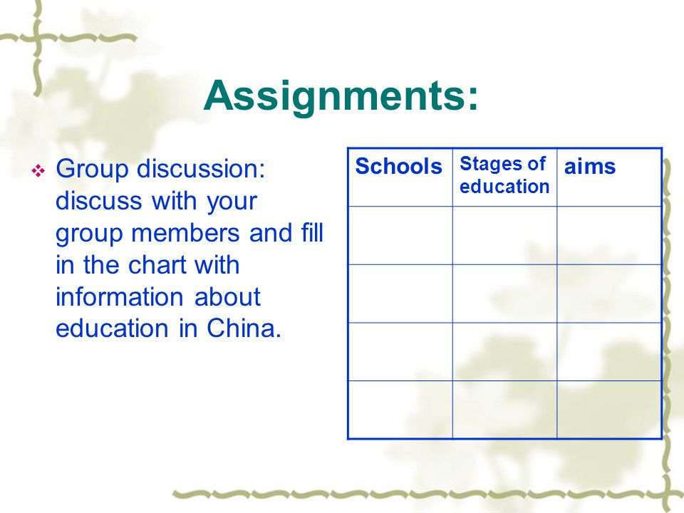Assignments:  Group discussion: discuss with your group members and fill in the chart with information about education in China. Schools Stages of ed