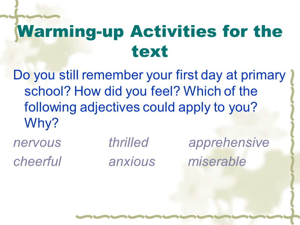 Warming-up Activities for the text Do you still remember your first day at primary school.