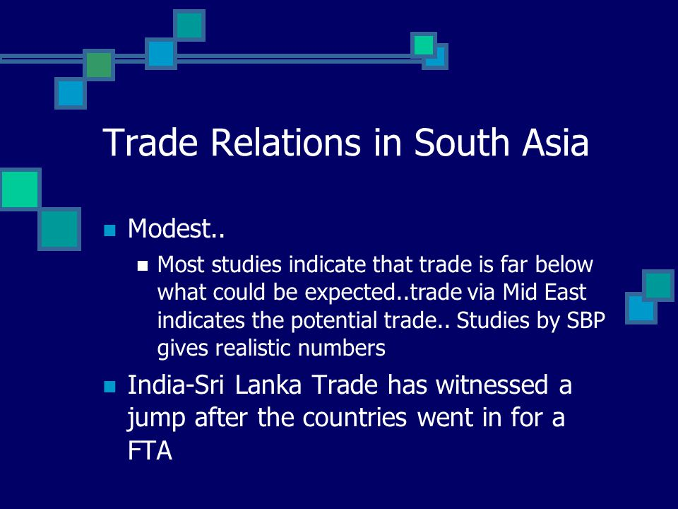 Trade Relations in South Asia Modest.. Most studies indicate that trade is far below what could be expected..trade via Mid East indicates the potentia