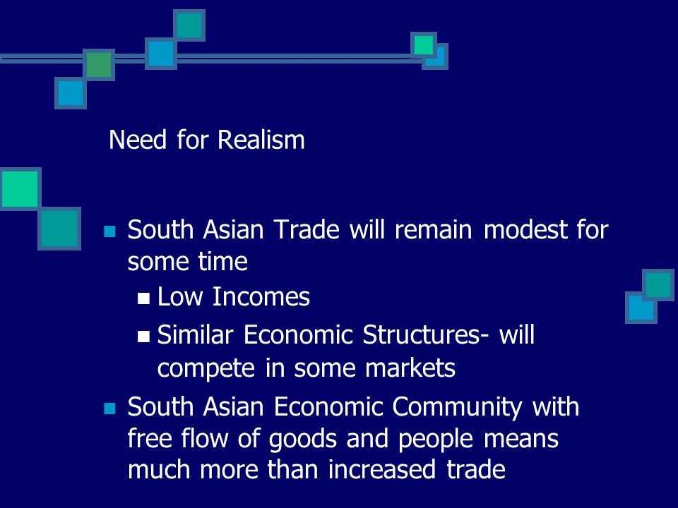 Need for Realism South Asian Trade will remain modest for some time Low Incomes Similar Economic Structures- will compete in some markets South Asian Economic Community with free flow of goods and people means much more than increased trade