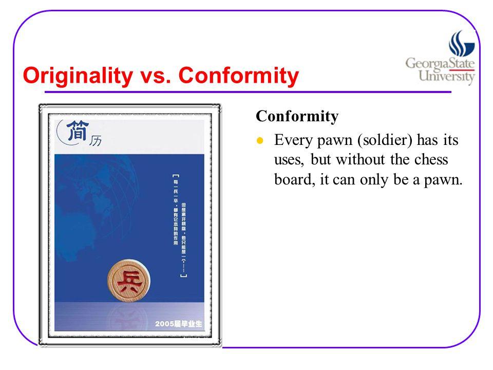 Originality vs. Conformity Conformity Do you need me?