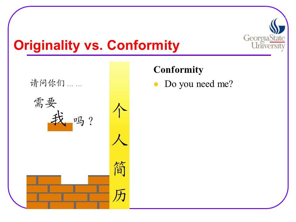 Originality vs. Conformity Conformity Do you need me