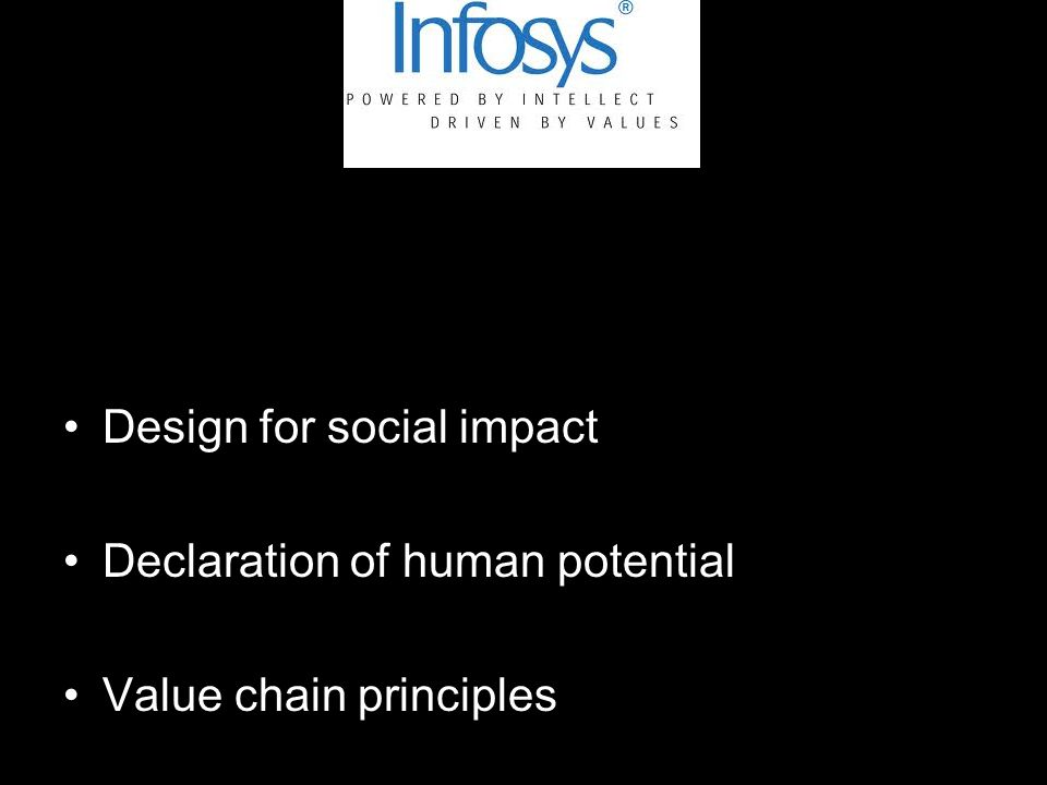Design for social impact Declaration of human potential Value chain principles