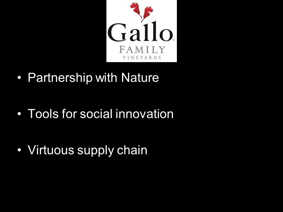 Partnership with Nature Tools for social innovation Virtuous supply chain