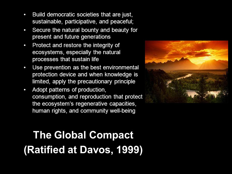 The Earth Charter (UNEP/UNDP 1999) Build democratic societies that are just, sustainable, participative, and peaceful; Secure the natural bounty and beauty for present and future generations Protect and restore the integrity of ecosystems, especially the natural processes that sustain life Use prevention as the best environmental protection device and when knowledge is limited, apply the precautionary principle Adopt patterns of production, consumption, and reproduction that protect the ecosystem's regenerative capacities, human rights, and community well-being The Global Compact (Ratified at Davos, 1999)