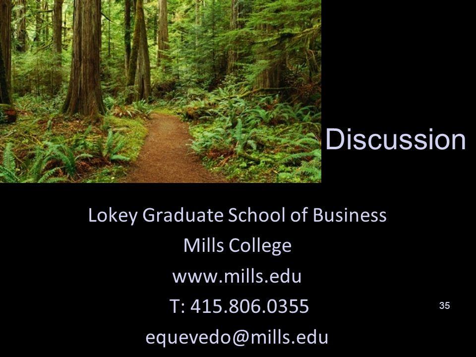 35 Discussion Lokey Graduate School of Business Mills College www.mills.edu T: 415.806.0355 equevedo@mills.edu