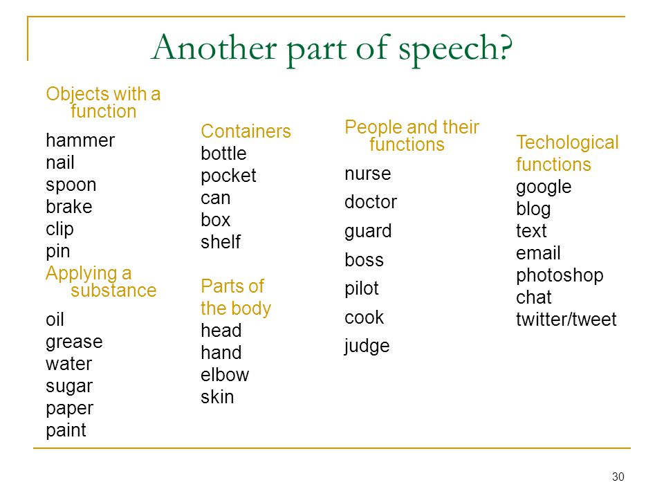 30 Another part of speech.