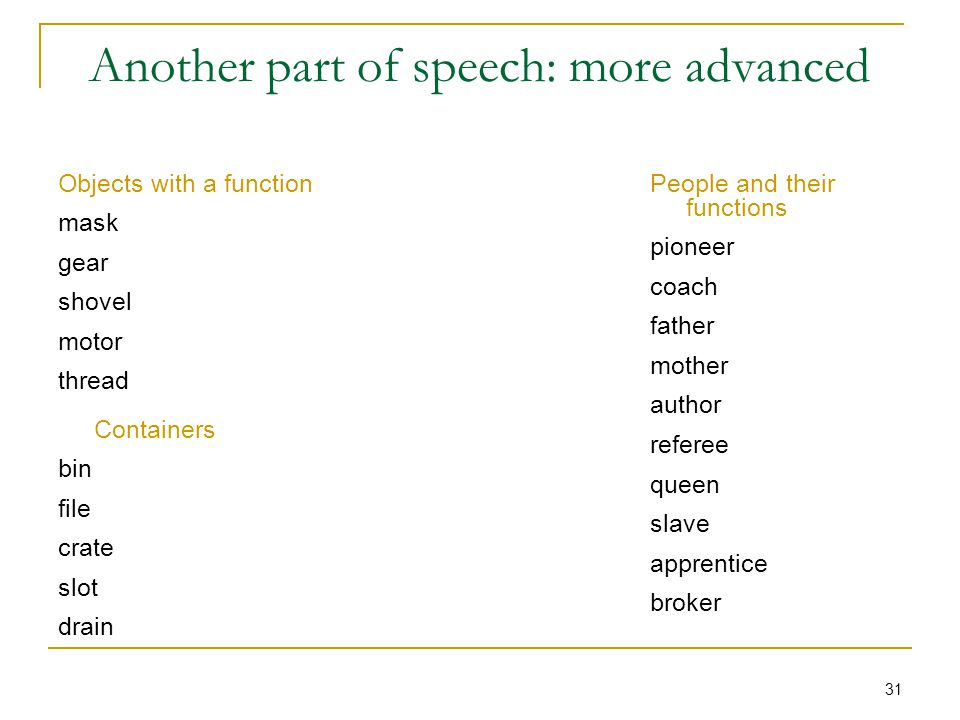 31 Another part of speech: more advanced Objects with a function mask gear shovel motor thread Containers bin file crate slot drain People and their functions pioneer coach father mother author referee queen slave apprentice broker