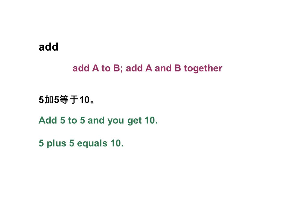 add add A to B; add A and B together 5 加 5 等于 10 。 Add 5 to 5 and you get 10. 5 plus 5 equals 10.