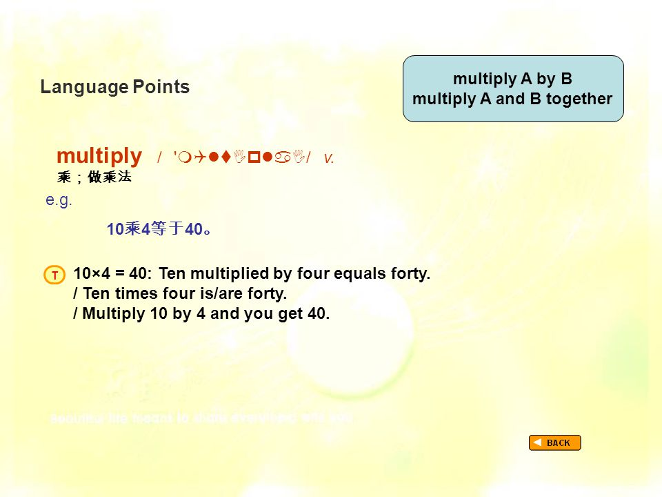 Language Points multiply /  / v. 乘;做乘法 TextB_P1_LP_ multiply e.g.
