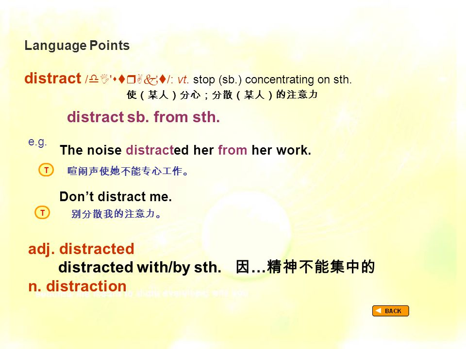 Language Points distract /   /: vt. stop (sb.) concentrating on sth.