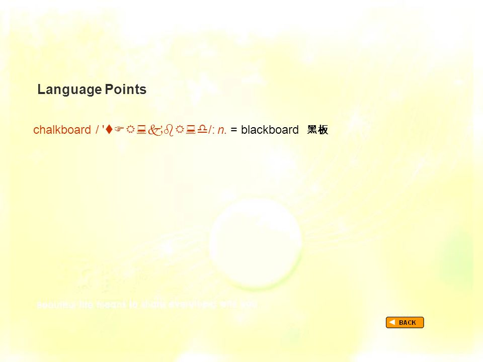 Language Points chalkboard /  /: n. = blackboard 黑板 TextB_P2_LP_ chalkboard
