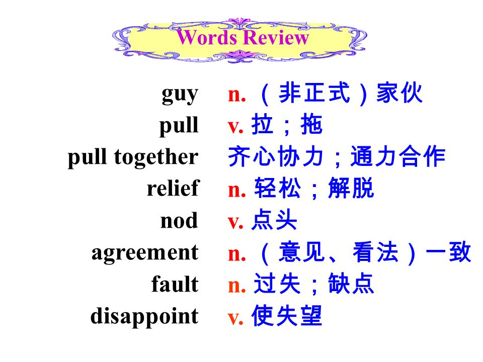 guy pull pull together relief nod agreement fault disappoint Words Review n. (非正式)家伙 v. 拉;拖 齐心协力;通力合作 n. 轻松;解脱 v. 点头 n. (意见、看法)一致 n. 过失;缺点 v. 使失望