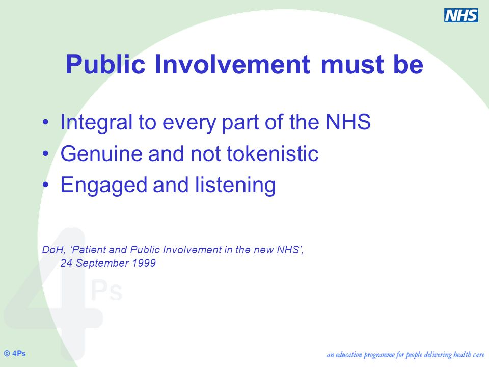 Public Involvement must be Integral to every part of the NHS Genuine and not tokenistic Engaged and listening DoH, 'Patient and Public Involvement in the new NHS', 24 September 1999