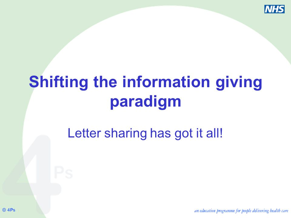 Shifting the information giving paradigm Letter sharing has got it all!